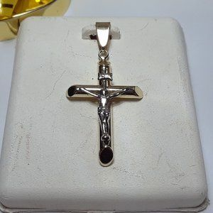"1 7/16"" ladies/gents 10Kt 2Tone Crucifix Pend14166"